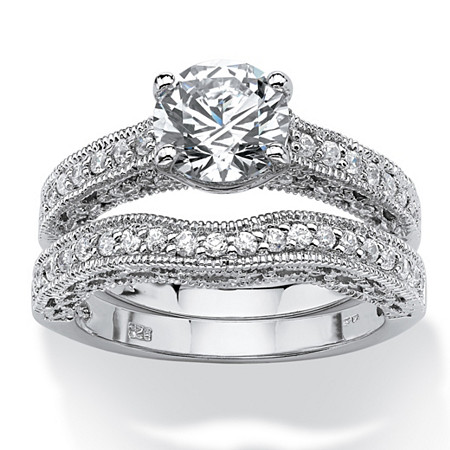 2.60 TCW Round Cubic Zirconia Platinum over Sterling Silver Filigree Bridal Engagement Ring Set at PalmBeach Jewelry