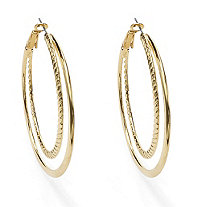 Yellow Gold Tone Double Hoop Earrings 2""