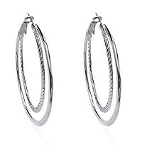 Silvertone Double Hoop Earrings 2""