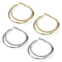 "Double Hoop Earrings in Yellow Gold Tone and Free Double Hoop Earrings in Silvertone (2"")"