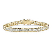 16.65 TCW Princess-Cut Cubic Zirconia 14k Gold-Plated Straight Line Tennis Bracelet 7 1/2""