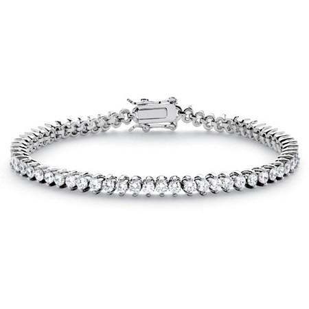 "6.50 TCW Round Cubic Zirconia Platinum-Plated Tennis Line Bracelet 7.5"" at PalmBeach Jewelry"
