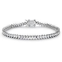 "6.50 TCW Round Cubic Zirconia Platinum-Plated Tennis Line Bracelet 7.5"""