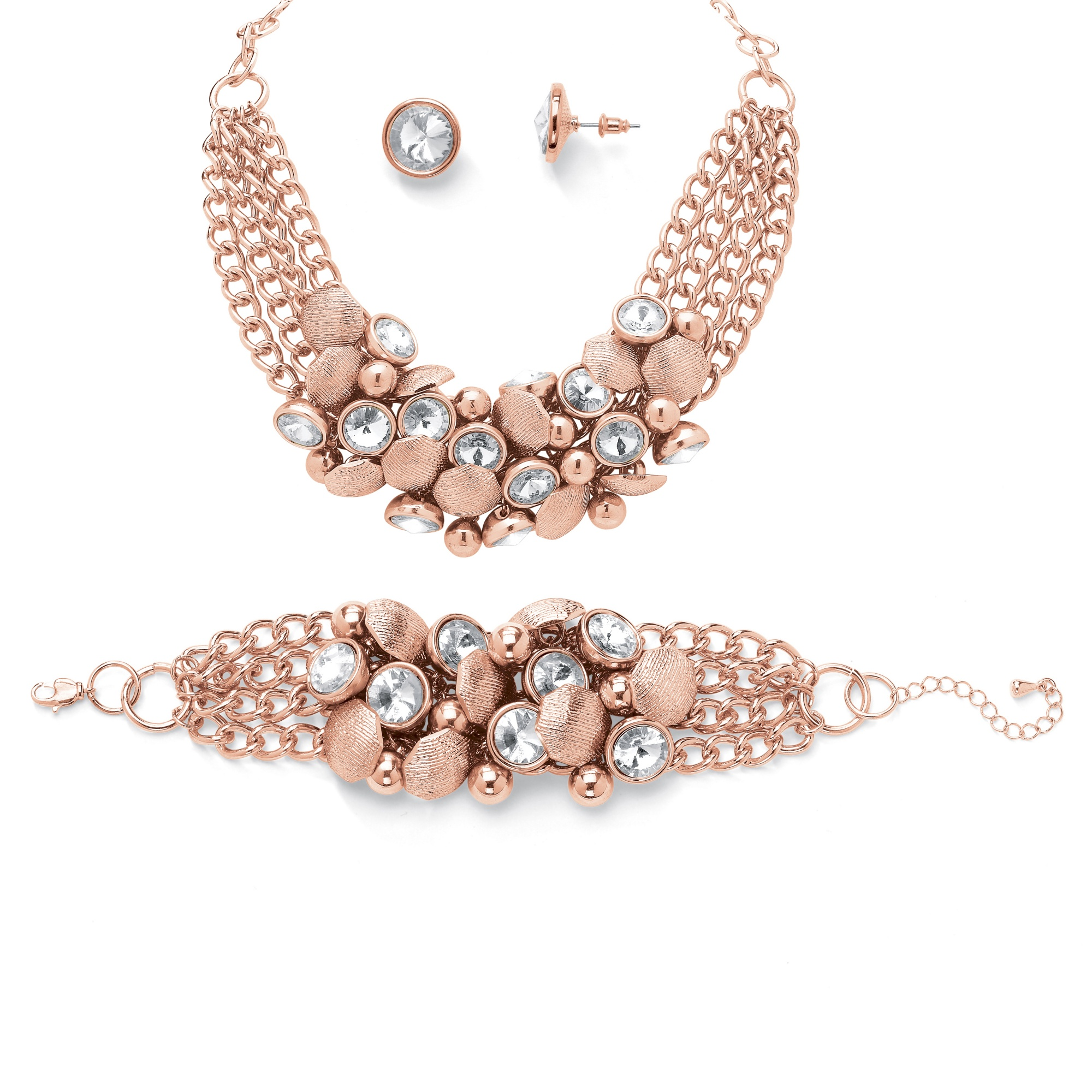 Bezel Set Crystal Rose Gold Plated Collar Necklace Bracelet And Stud Earrings At Palmbeach Jewelry