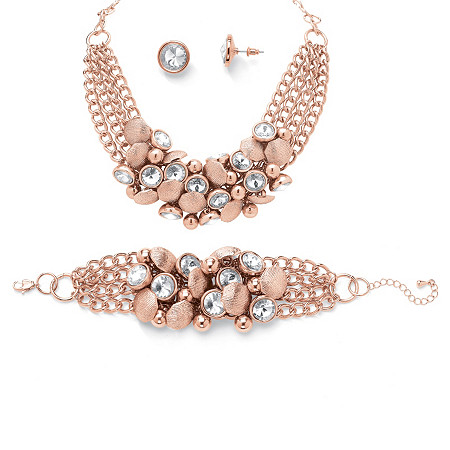 Set Crystal Rose Gold Plated Collar Necklace Bracelet and Stud