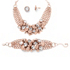 Related Item Bezel-Set Crystal Rose Gold-Plated Collar Necklace, Bracelet and Stud Earrings Set