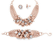 Bezel-Set Crystal Rose Gold-Plated Collar Necklace, Bracelet and Stud Earrings Set