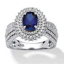 SETA JEWELRY 2.18 TCW Oval-Cut Created Blue Sapphire Halo Ring in Platinum over Sterling Silver