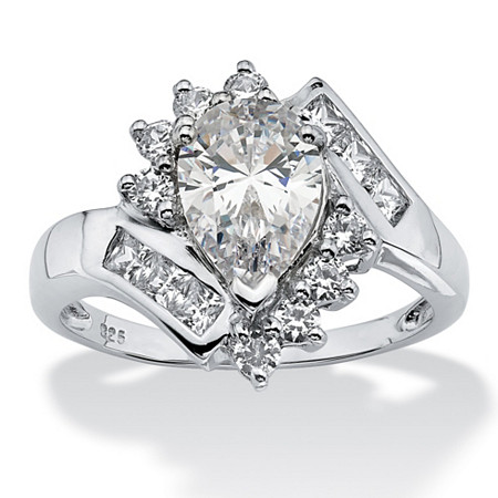 2.42 TCW Pear-Cut Cubic Zirconia Engagement Anniversary Ring in Platinum over Sterling Silver at PalmBeach Jewelry