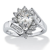 2.42 TCW Pear-Cut Cubic Zirconia Engagement Anniversary Ring in Platinum over Sterling Silver