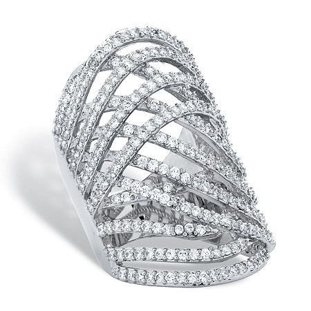 3.58 TCW Round Cubic Zirconia Platinum-Plated Highway Ring at PalmBeach Jewelry