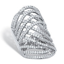 SETA JEWELRY 3.58 TCW Round Cubic Zirconia Platinum-Plated Highway Ring