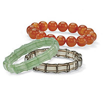Multicolor Agate and Genuine Chalcedony Three-Piece Stretch Bracelet Set 8""