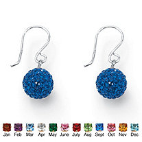 Round Simulated Birthstone .925 Sterling Silver Crystal Globe Drop Earrings