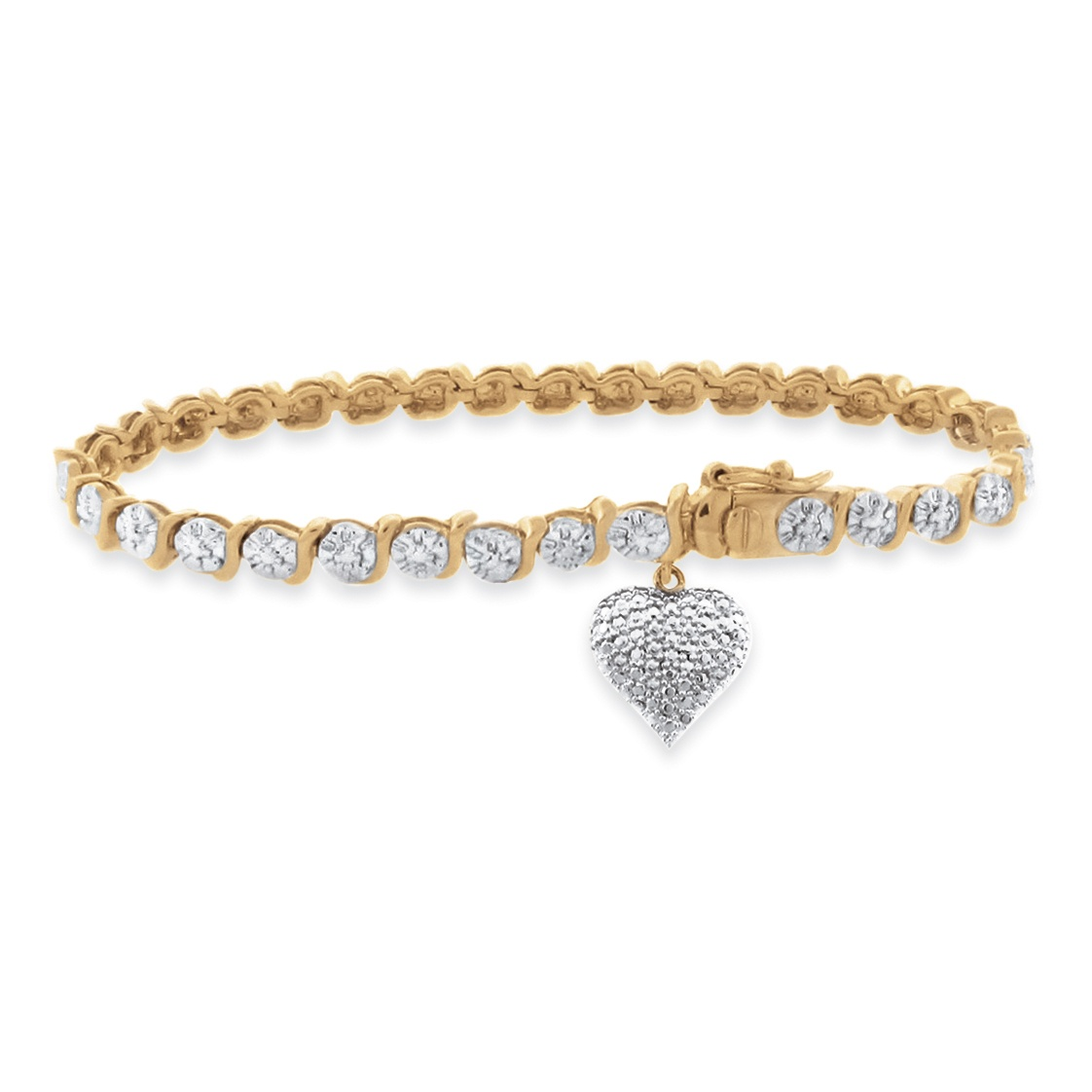 Gold Charm Bracelets: Diamond Accent S-Link Heart Charm Bracelet Two-Tone 18k