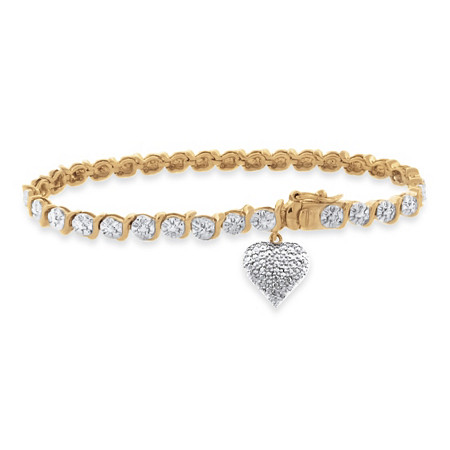 Diamond Accent S-Link Heart Charm Bracelet Two-Tone 18k Gold-Plated at PalmBeach Jewelry