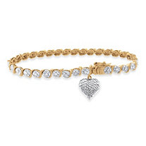 Diamond Accent S-Link Heart Charm Bracelet Two-Tone 18k Gold-Plated