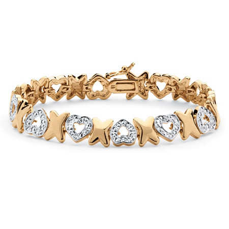 """Diamond Accent Hearts and Kisses Pave Bracelet 18k Gold-Plated 7"""" at PalmBeach Jewelry"""