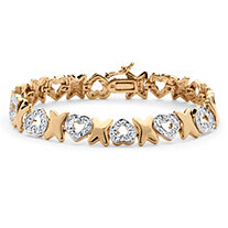 Diamond Accent Hearts and Kisses Pave Bracelet 18k Gold-Plated 7