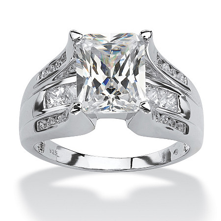 4.85 TCW Emerald-Cut Cubic Zirconia Ring in Platinum over Sterling Silver at PalmBeach Jewelry