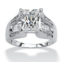 SETA JEWELRY 4.85 TCW Emerald-Cut Cubic Zirconia Ring in Platinum over Sterling Silver