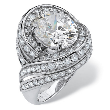 7.19 TCW Oval-Cut Cubic Zirconia Swirl Cocktail Ring in Platinum over Sterling Silver at PalmBeach Jewelry