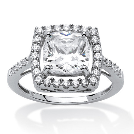 2.02 TCW Cushion Princess-Cut Cubic Zirconia Platinum over Sterling Silver Halo Ring at PalmBeach Jewelry