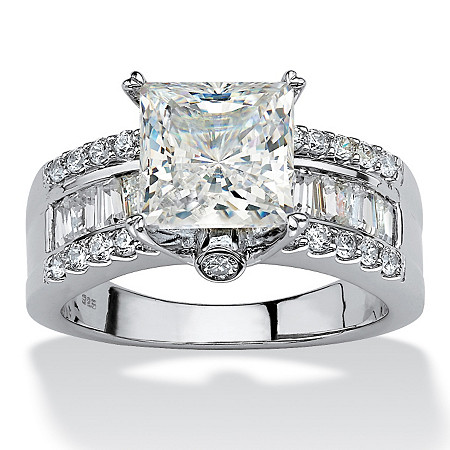 3.43 TCW Princess-Cut Cubic Zirconia Platinum over Sterling Silver Engagement Anniversary Ring at PalmBeach Jewelry