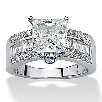 SETA JEWELRY 3.43 TCW Princess-Cut Cubic Zirconia Platinum over Sterling Silver Engagement Anniversary Ring