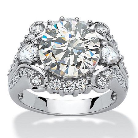4.88 TCW Round Cubic Zirconia Platinum over Sterling Silver Engagement Anniversary Ring at PalmBeach Jewelry