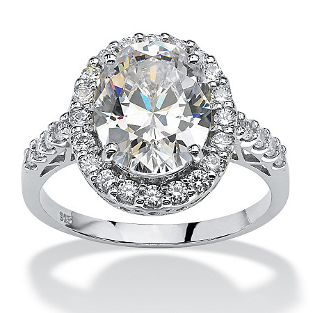 4.44 TCW Oval Cut Cubic Zirconia Platinum over Sterling Silver Halo Ring at PalmBeach Jewelry