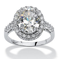 4.44 TCW Oval Cut Cubic Zirconia Platinum over Sterling Silver Halo Ring