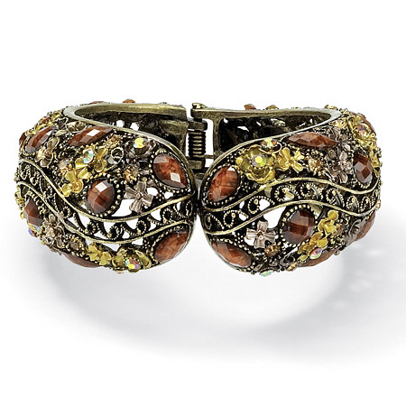 Multicolor Crystal Hinged Cuff Bracelet in Antiqued Yellow Gold Tone at PalmBeach Jewelry
