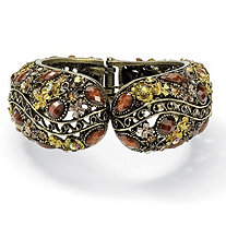Multicolor Crystal Hinged Cuff Bracelet in Antiqued Yellow Gold Tone