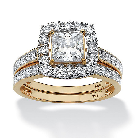Princess-Cut Cubic Zirconia Two-Piece Bridal Set 1.93 TCW in 18k Gold over Sterling Silver at PalmBeach Jewelry