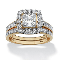 Princess-Cut Cubic Zirconia Two-Piece Bridal Set In 18k Gold Over Sterling Silver ONLY $88.18