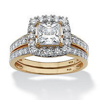 SETA JEWELRY 1.93 TCW Princess-Cut Cubic Zirconia Two-Piece Bridal Set in 18k Gold over Sterling Silver