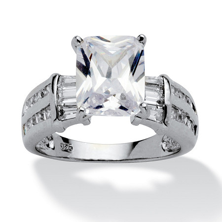 5.04 TCW Emerald-Cut Cubic Zirconia Platinum over Sterling Silver Engagement Anniversary Ring at PalmBeach Jewelry