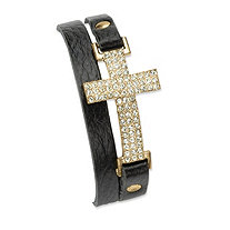 "Crystal Accent Yellow Gold Tone Double-Wrap Leather Cross Bracelet Adjustable 6"" - 8"""