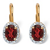 Related Item Oval-Cut Genuine Birthstone and Diamond Accent Drop Earrings in 18k Gold-Plated