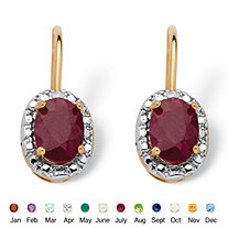 Oval-Cut Genuine Birthstone and Diamond Accent Drop Earrings in 18k Gold-Plated
