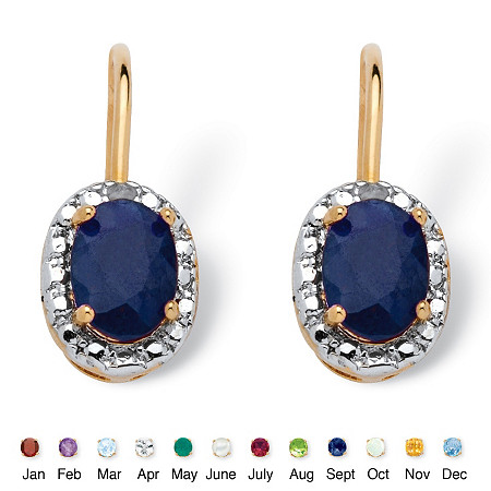 Oval-Cut Genuine Birthstone and Diamond Accent Drop Earrings in 18k Gold-Plated at PalmBeach Jewelry