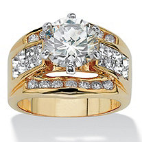 3.46 TCW Round Cubic Zirconia Crystal Accent Ring 14k Yellow Gold-Plated