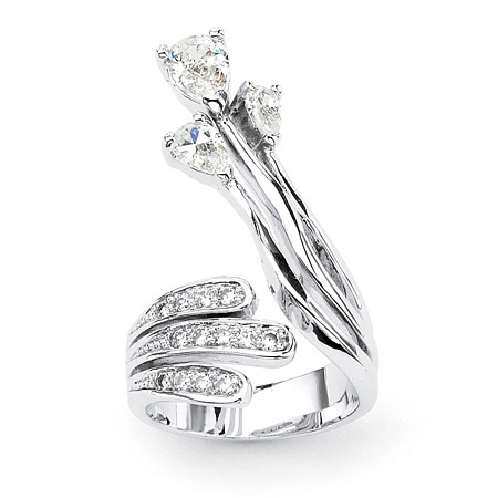 Pear-Cut and Round Cubic Zirconia Platinum-Plated Crossover Wrap Ring at PalmBeach Jewelry