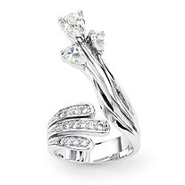 Pear-Cut and Round Cubic Zirconia Platinum-Plated Crossover Wrap Ring