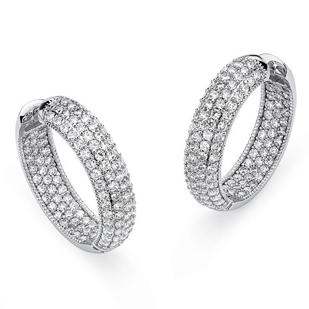 "Round Cubic Zirconia Inside-Out Hoop Earrings 5.63 TCW Platinum-Plated 1"" at PalmBeach Jewelry"