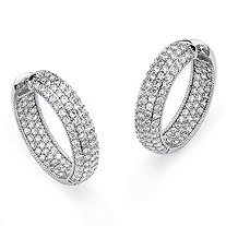 Round Cubic Zirconia Platinum-Plated Inside-Out Hoop Earrings
