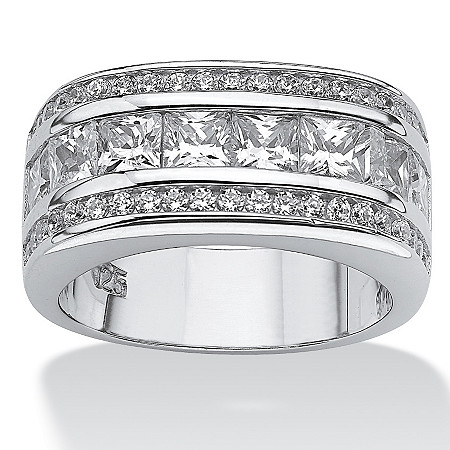 1.59 TCW Round Cubic Zirconia Platinum over Sterling Sliver Squared Band at PalmBeach Jewelry