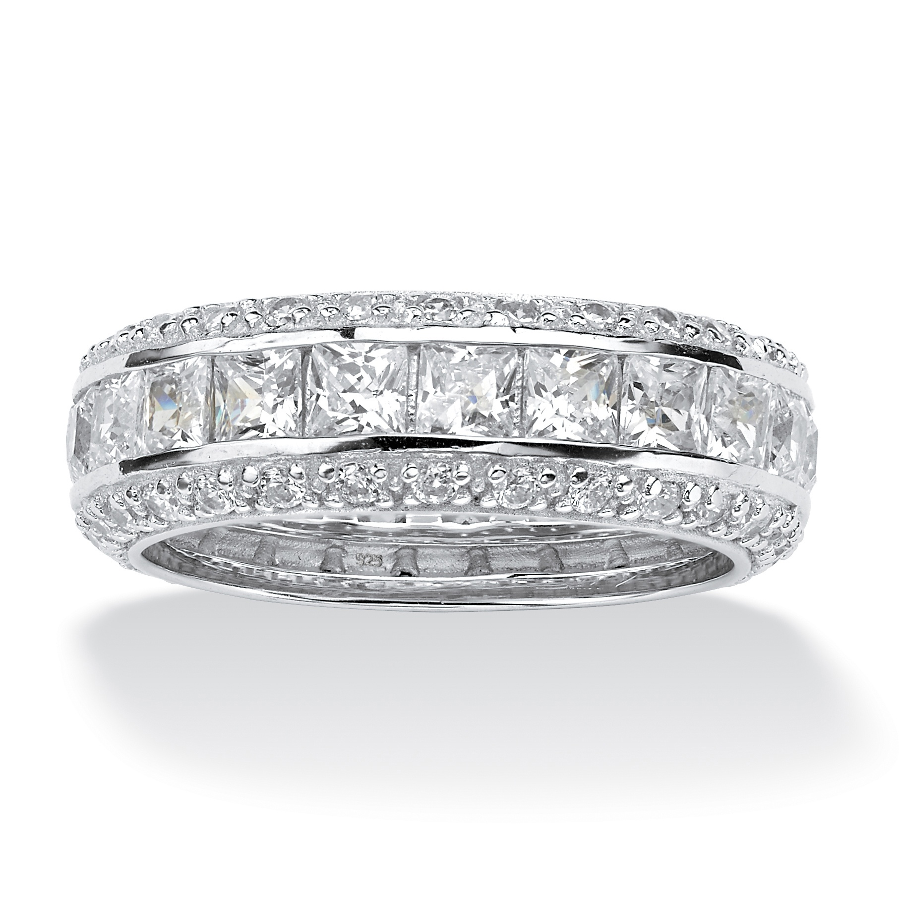 4 17 Tcw Princess Cut Cz Eternity Ring In Platinum Over