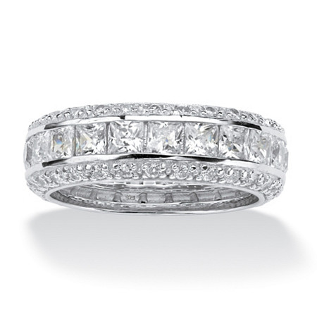 4.17 TCW Princess-Cut CZ Eternity Ring in Platinum over .925 Sterling Silver at PalmBeach Jewelry